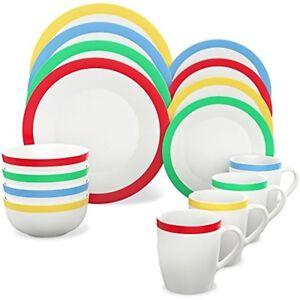 Image is loading Vremi-Dinnerware-Sets-16-Piece-Service-For-Round-  sc 1 st  eBay & Vremi Dinnerware Sets 16 Piece Service For Round Porcelain Plates ...