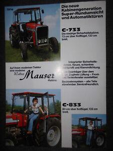 Prospekt Sales Brochure Walter Mauser Kabine Fur Massey Ferguson C