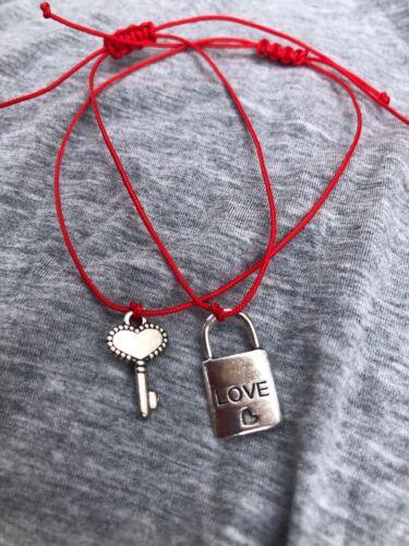 His /& Hers Cerradura y llave pareja Pulseras amantes amistad hecho a mano de 2 un.