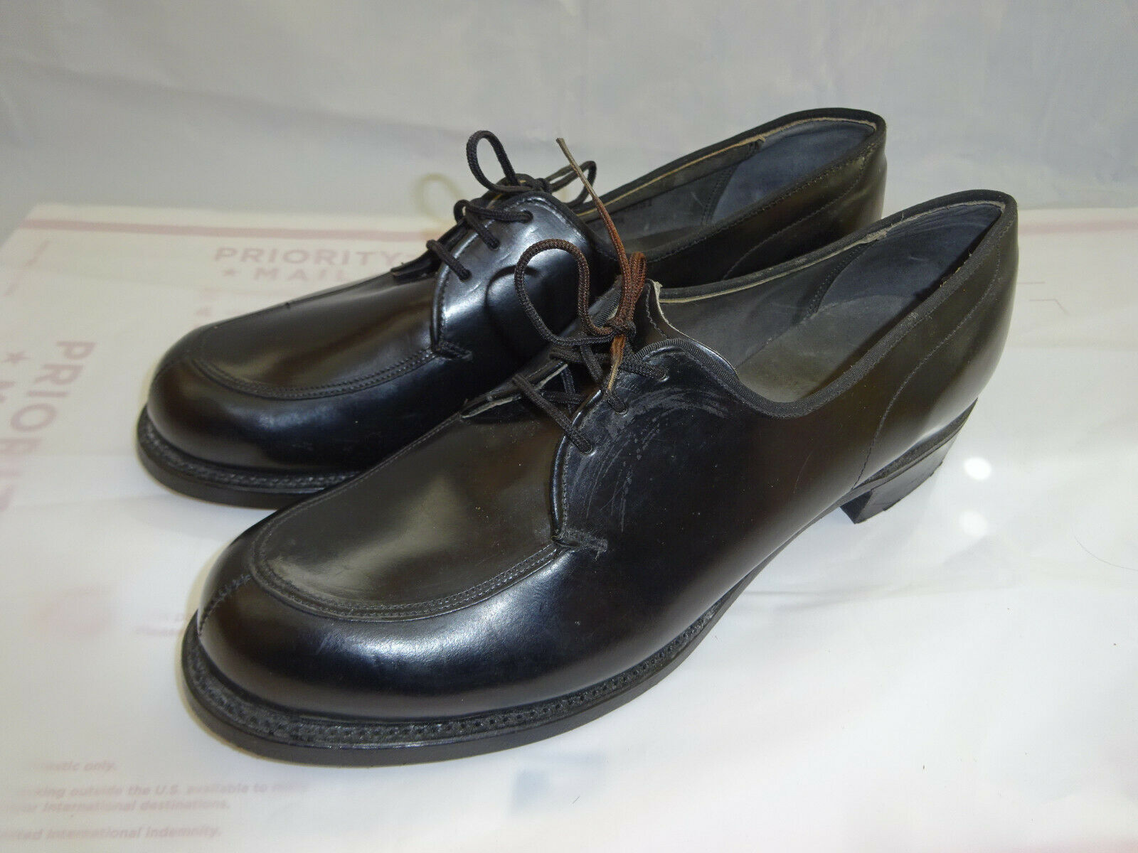 Vintage Années 70 WEINBRENNER Femme Sz 9 A Cuir noir Militaire Robe chaussures New New Old Stock
