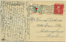 1917 Early Christmas Seal (Scott WX19) Tied on Postcard, Seattle Terminal Cancel