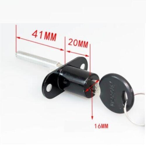 Cam Lock Door Cabinet MailBox 16mm Desk Drawer Cupboard Locker 2 Keys Black