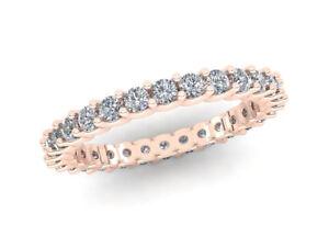 0-75Ct-Round-Diamond-Shared-U-Prong-Wedding-Eternity-Ring-14k-Rose-Gold-GH-I1