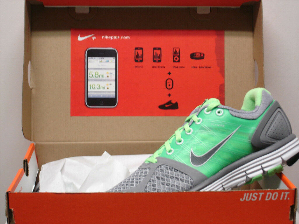 WMNS NIKE LUNARGLIDE+ 2 GREY RUNNING SHOES IPOD NEW