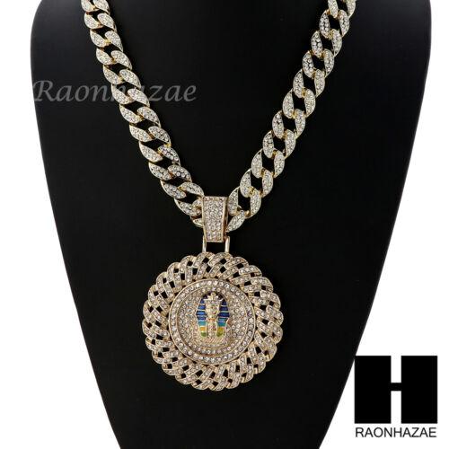 """Iced XL King tut Pharaoh Round Pendant 30/"""" Iced Heavy Cuban Chain N0045"""