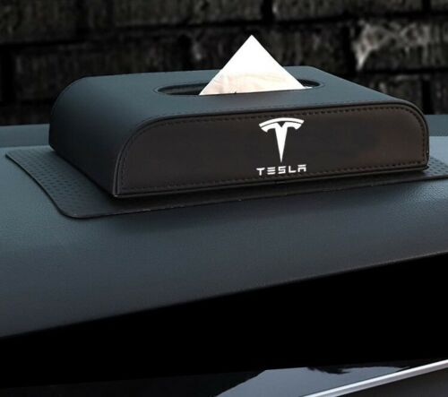 Leather Tissue Box Holder Napkin Storage Case for Tesla Model S X Model 3 Car