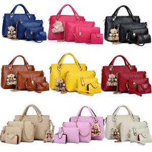 5288899d3784 Details about 4PCS/Set Women Lady Leather Shoulder Bag Handbag Satchel  Clutch Coin Purse Lot