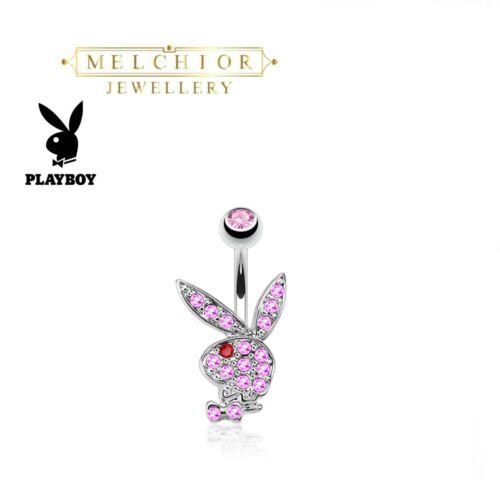 Acero Quirúrgico Playboy Bunny Barra de Vientre Multi Rosa allanó Piedras Preciosas Anillo