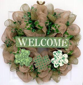 Three Glittering Burlap Shamrocks Welcome Wreath St Patricks Day Deco Mesh