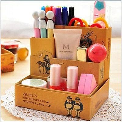 DIY Paper Board Fairy Tale Storage Box Desk Stationery Makeup Cosmetic Organizer