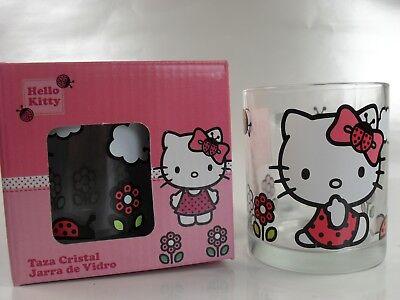 Hello Kitty  2x Glastasse mit Blumen Marienkäfer Neu in Geschenkbox Tasse