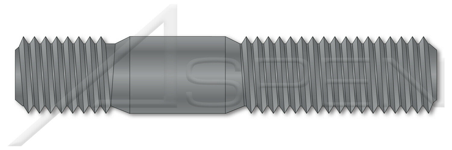 Metric Screw-in End 1.0 X Diameter 25 pcs Double-Ended Stud with Plain Center Class 5.8 Steel Plain M12-1.75 X 40mm DIN 938