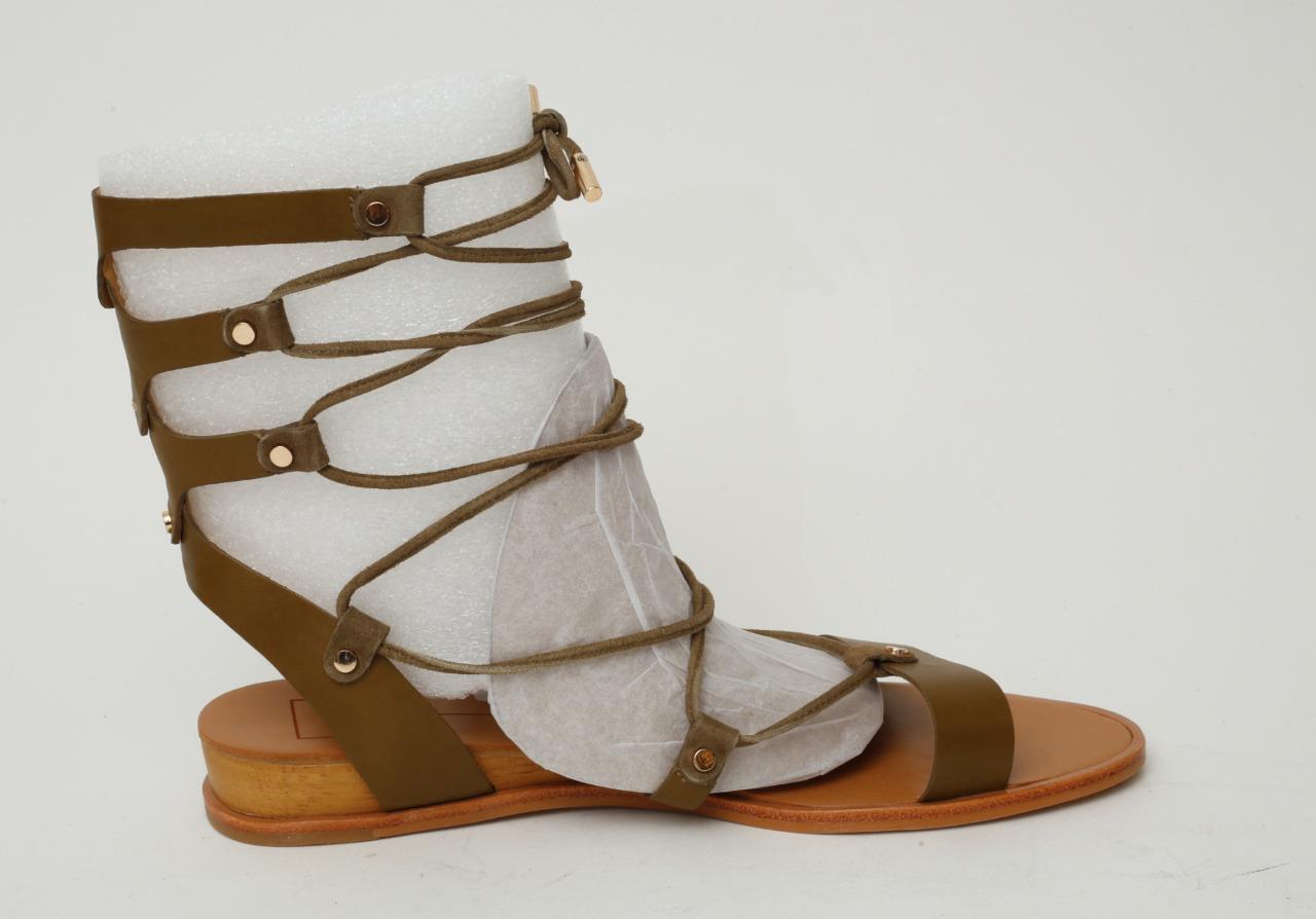 DOLCE VITA Damenschuhe Sandales Olive Leder Gladiator Lace-Up Sandales Damenschuhe Flats Schuhes 8.5 NEW f85ff6