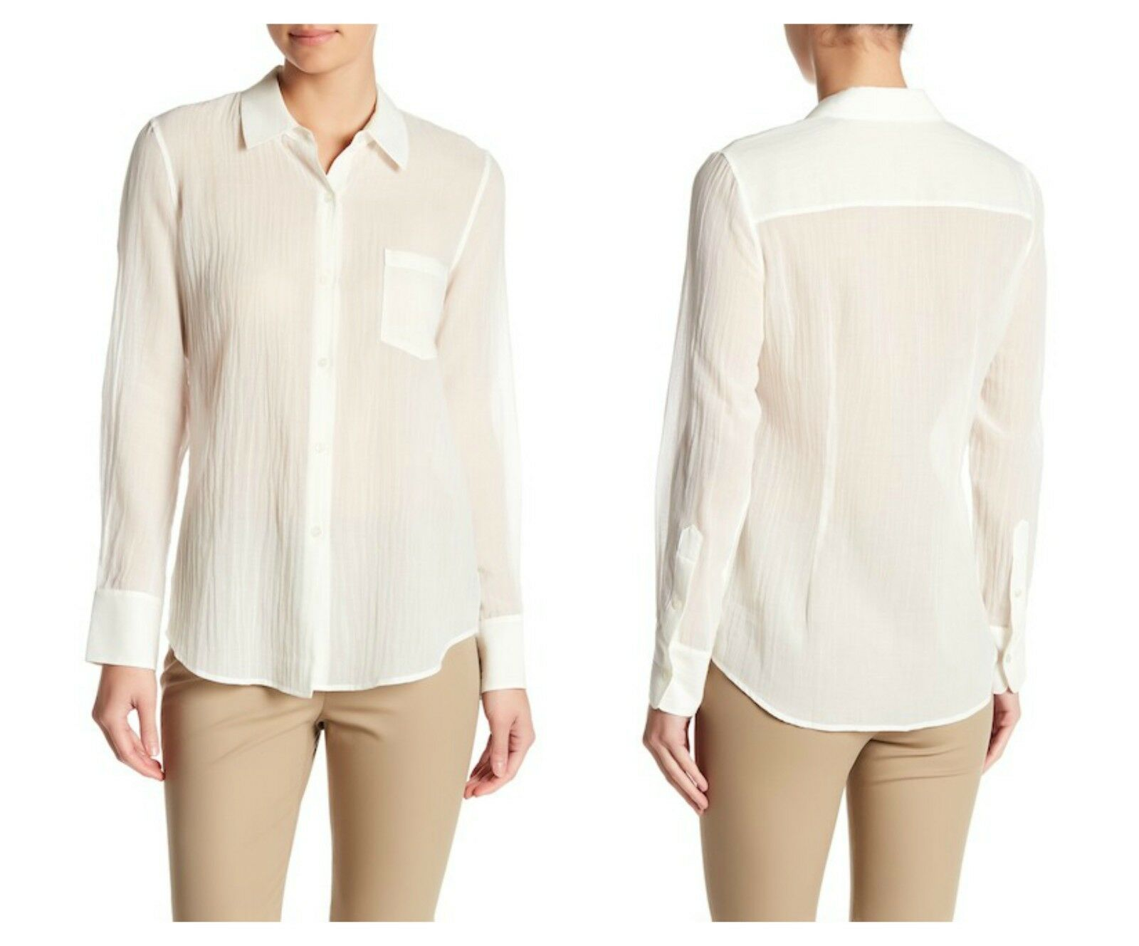 Theory damen Weylend Sheer Weiß Cotton ButtonUp Longsleeve Blouse Größe S
