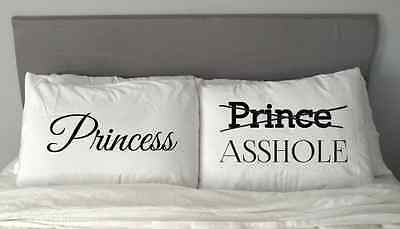 NEW PRINCESS PRINCE Asshole Pillow Case   Gift  Valentine's Day Anniversary m3