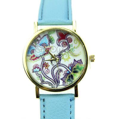 Exquisite Geneva Leather Women Girl Rose Flower Watch Quartz Watches New