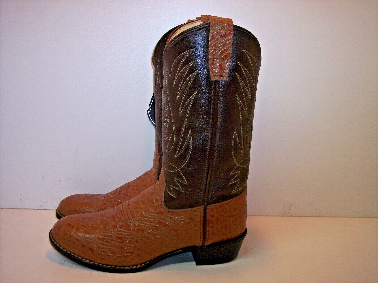 JAMA Tan & Brown Leather Exotic Look Western Boot Women's Size 5.5