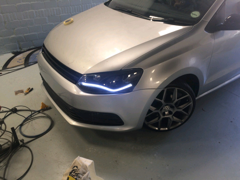 VW polo 6r headlights with sequential led lights