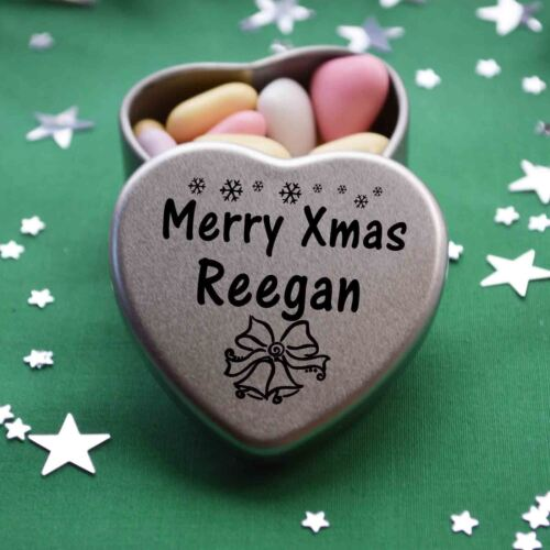 Merry Xmas Reegan Mini Heart Tin Gift Present Happy Christmas Stocking Filler