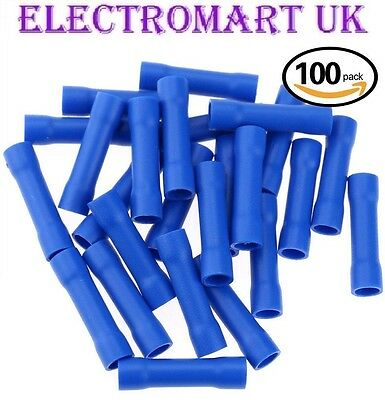 BLUE BUTT Terminals 100 Pack Electrical Crimp Connector