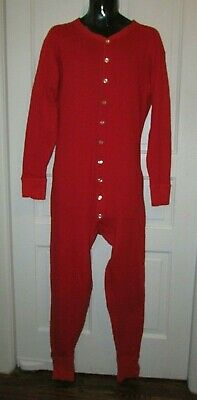L Duofold by Champion Men/'s Full Button Front Base Layer Union Suit Red