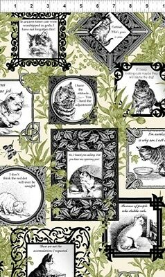 In the Beginning Cat Centric by Gray Sky 2GSD1 Blue Cat BTY Cotton Fabric