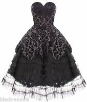 BLACK GOTH WEDDING DRESS VICTORIAN STEAMPUNK MOURNING LONG FLOCKED PROM VTG 6-20