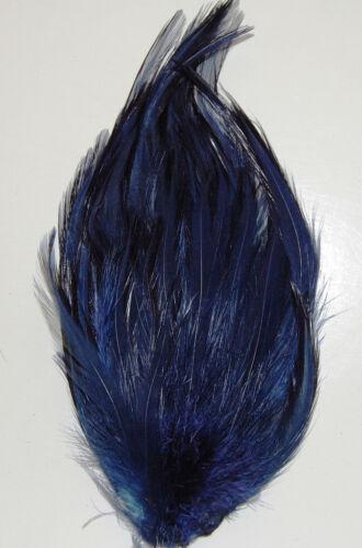 6 Pcs HACKLE FEATHER PAD NAVY New Pads; Headband//Bridal//Craft//Dress