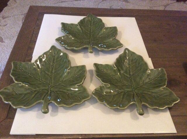 Set Of 3 Harvest Green Pottery Barn Leaf Plates Ebay