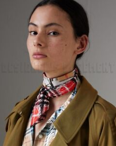 24c47b0c3e9a BURBERRY red   beige DISRUPTIVE CHECK skinny 2-sided Silk scarf NWT ...