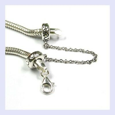 STR Silver Round Rubber Stopper Dot Safety Chain Bead f/ European Charm Bracelet