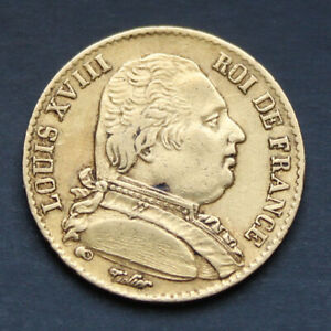 Piece-Or-20-Francs-Louis-XVIII-Buste-habille-1814-A-Gold-Coin-France