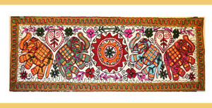 Hand-Embroidered-Chain-Stitched-Mirror-Cotton-Wall-Tapestry-Table-Runner-India
