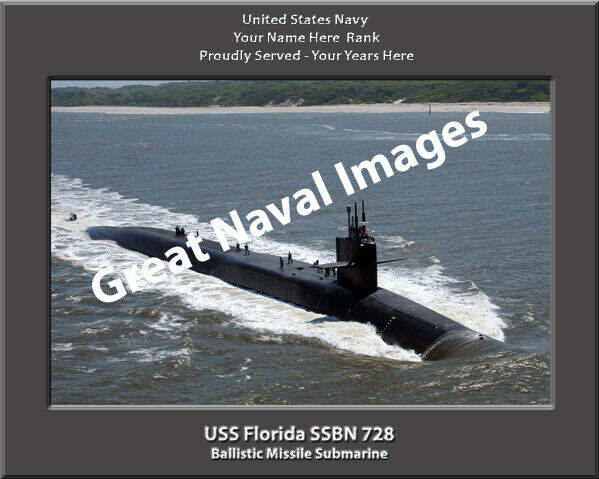 USS Florida SSBN 728 Personalized Canvas Submarine Photo Print Navy Veteran Gift