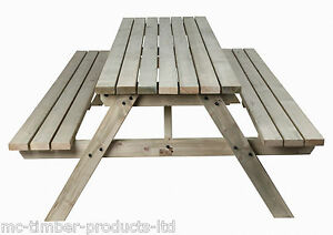 AUTUMN SALE Ft Wooden Timber Picnic Table Bench Heavy Duty - Timber picnic table