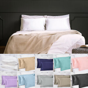 US-Sell-2-Silky-Satin-Pillow-Case-Cushion-Cover-Pillowcase-Standard-King-Queen