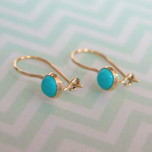14K-Solid-YELLOW-GOLD-Round-4-mm-TURQUOISE-Drop-Earrings-HANDMADE-Holidays-Sale