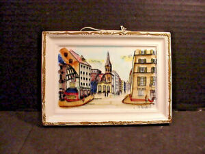 Wales-Made-in-Japan-Miniature-Ceramic-Painting-Impressionist-Street-Scene-Signed