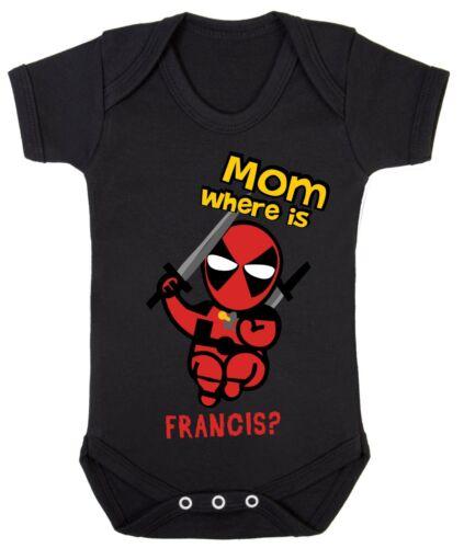 Baby Deadpool Mom Where Is Francis boy funny bodysuit grow son dad Cotton 0-24