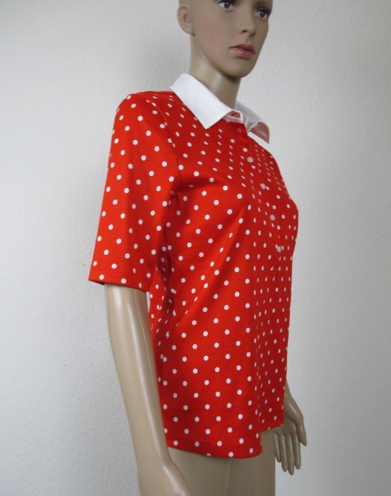 Efixelle Polo Shirt in red mit whiteen Punkten, Kragen in white, Größe 40