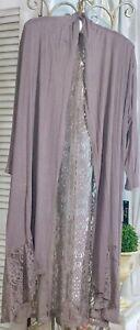 NEW-Plus-Size-1X-XL-Purple-Lavender-Lace-Boho-Maxi-Duster-Topper-Kimono