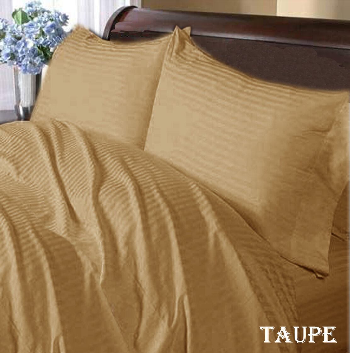TAUPE STRIPE 1000TC COMPLET USA SHEET   DUVET SET 100%COTTON CHOOSE SIZE & ITEMS