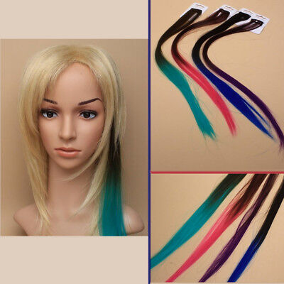 Billiger Preis Hair Streak Extension Color Ombre Dyed Gothic Style Imitation Comb Long Straight