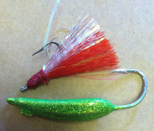 10 RIGS SILLY WILLY LURES 1//4 oz BLUEFISH POMPANO MACKEREL RIGGED w// TEASER