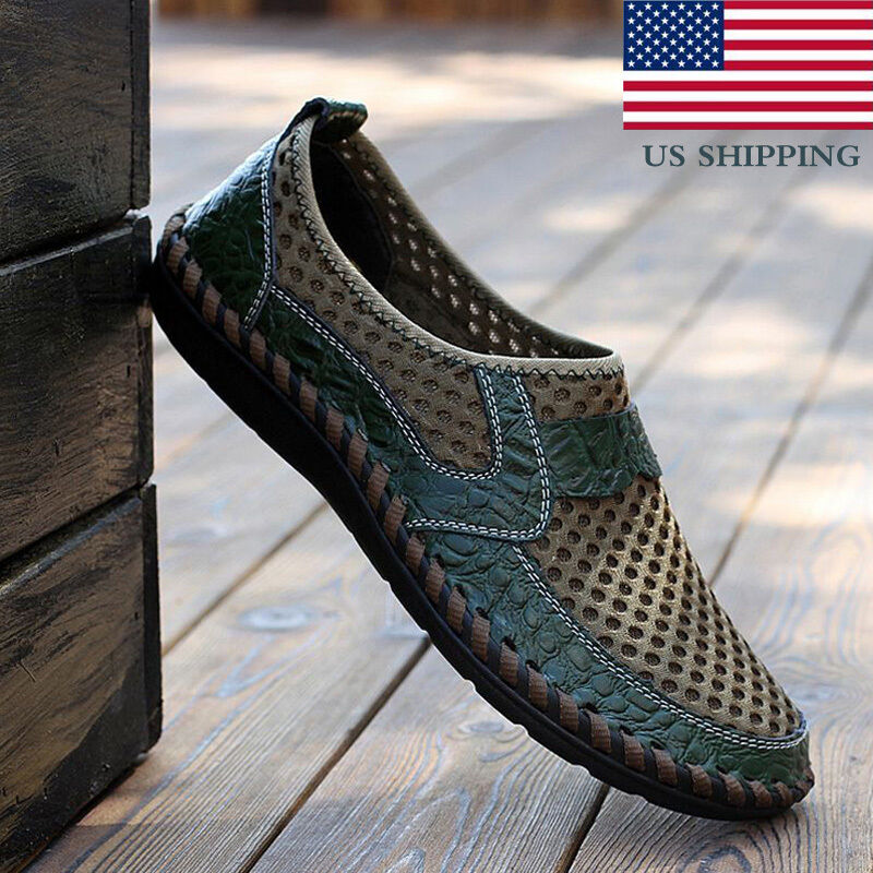 Summer Breathable Mens Driving Slip on Loafers Leather Mesh Shoes US Shipping