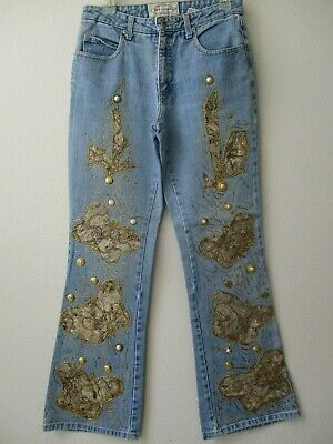 IR VIGOSS Woman Jeans THE CHELSEA capri Denim Embellished Pockets Medium Wash