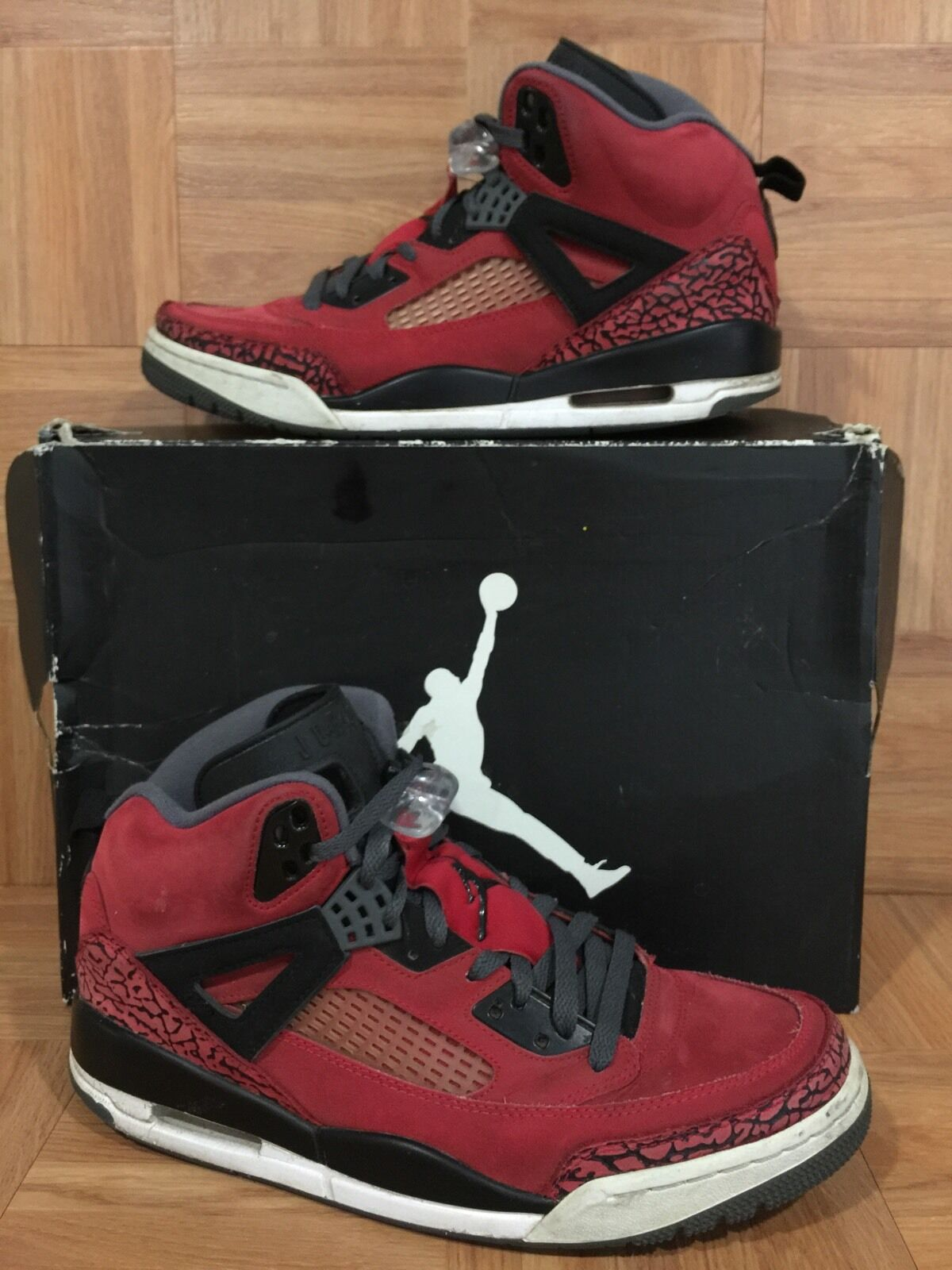 RARE� Nike Black Air Jordan Spizike Toro Bravo Red Black Nike Dark Gray Sz 8 315371-601 98e72e