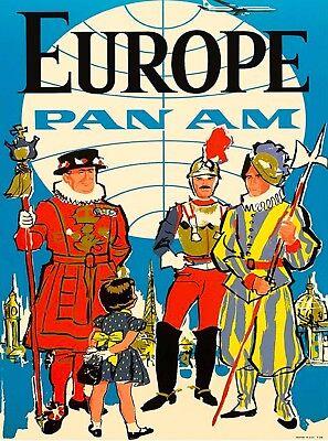 Europe Pan Am European Vintage Airline Airlines Airways Travel Art Poster Print