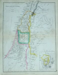 1856 Ancient Map Palaestina Palestine Judaea Jerusalem Bezetha Samaria Galilaea Promoting Health And Curing Diseases Maps, Atlases & Globes