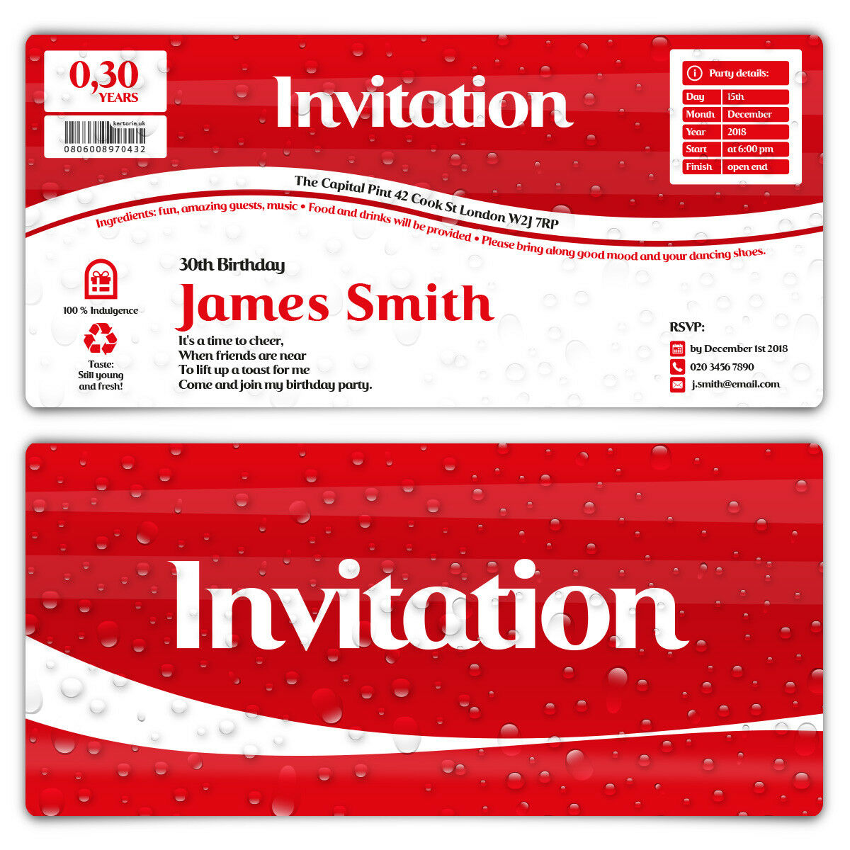 Birthday Invitation Cards Invites Personalised DL 210x99mm - Cola Softdrink